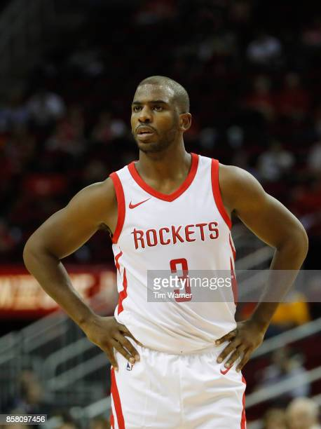 Chris Paul of Houston Rockets reacts to a foul in the first half against the Shanghai Sharks at Toyota Center on October 5 2017 in Houston Texas NOTE...