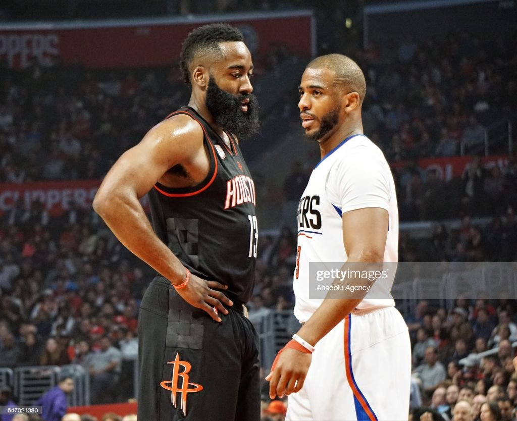 Chris Paul (R) of Los Angeles Clippers and James Harden (L) of Houston Rockets are seen during the NBA match between Los Angeles Clippers and Houston Rockets at Staples Center in Los Angeles, United States on March 2, 2017.