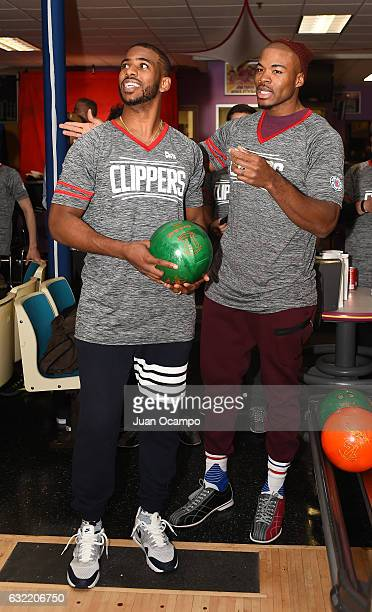 Chris Paul of the LA Clippers and Former NBA player Corey Magette participate during the LA Clippers Foundation Hosts Annual Charity Basketbowl...