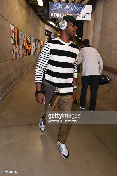 Chris Paul of the LA Clippers arrives at vivintSmartHome Arena before Game Four of the Western Conference Quarterfinals against the Utah Jazz of the...