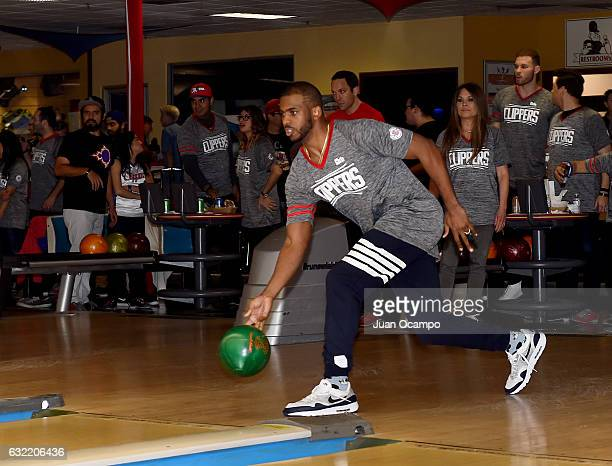 Chris Paul of the LA Clippers bowls during the LA Clippers Foundation Hosts Annual Charity Basketbowl Challenge Presented by Children's Hospital Los...