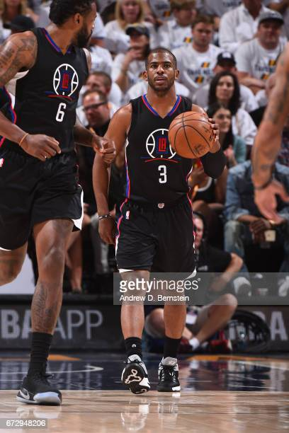 Chris Paul of the LA Clippers dribbles the ball against the Utah Jazz during Game Four of the Western Conference Quarterfinals during the 2017 NBA...