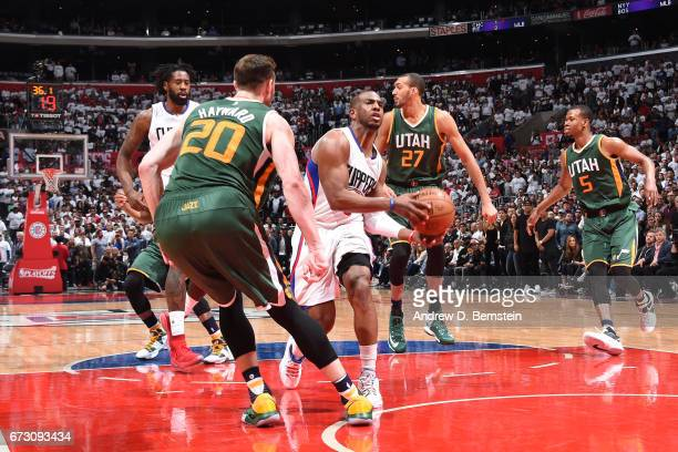 Chris Paul of the LA Clippers drives to the basket against the Utah Jazz in Game Five of the Western Conference Quarterfinals of the 2017 NBA...