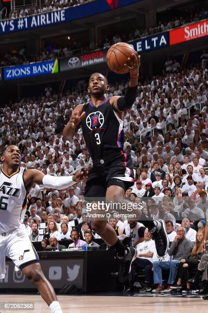 Chris Paul of the LA Clippers goes for a lay up during the game against the Utah Jazz in Game Four during the Western Conference Quarterfinals of the...