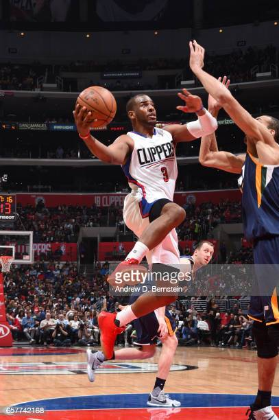Chris Paul of the LA Clippers goes up for a shot during a game against the Utah Jazz on March 25 2017 at STAPLES Center in Los Angeles California...