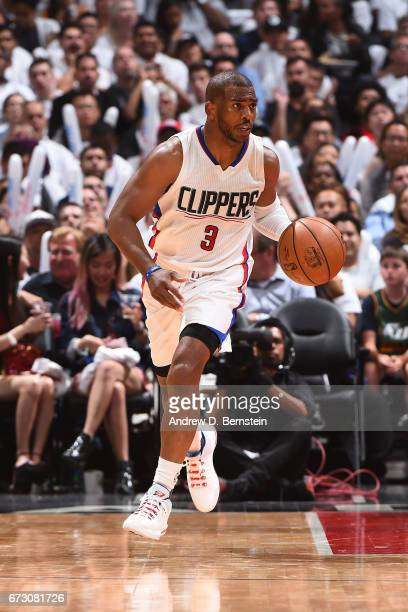 Chris Paul of the LA Clippers handles the ball against the Utah Jazz in Game Five of the Western Conference Quarterfinals of the 2017 NBA Playoffs on...