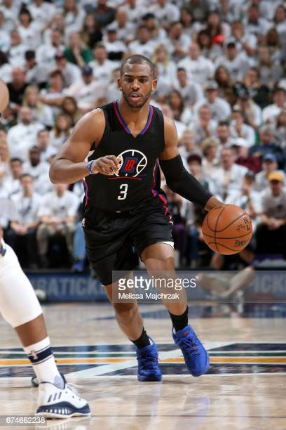 Chris Paul of the LA Clippers handles the ball against the Utah Jazz in Game Six of the Western Conference Quarterfinals of the 2017 NBA Playoffs on...