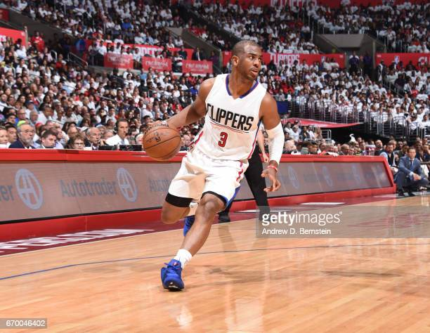Chris Paul of the LA Clippers handles the ball against the Utah Jazz during Game Two of the Western Conference Quarterfinals of the 2017 NBA Playoffs...