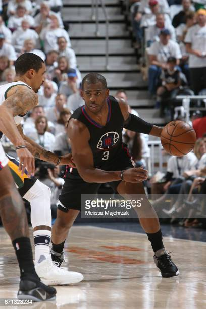 Chris Paul of the LA Clippers handles the ball against the Utah Jazz during Game Three of the Western Conference Quarterfinals of the 2017 NBA...