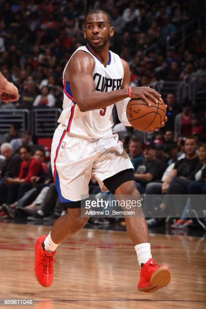 Chris Paul of the LA Clippers handles the ball during a game against the Utah Jazz on March 25 2017 at STAPLES Center in Los Angeles California NOTE...