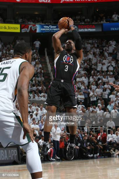 Chris Paul of the LA Clippers shoots the ball against the Utah Jazz during Game Three of the Western Conference Quarterfinals of the 2017 NBA...