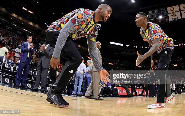 Chris Paul of the LA Clippers takes the floor during a game against the Miami Heat at American Airlines Arena on December 16 2016 in Miami Florida...