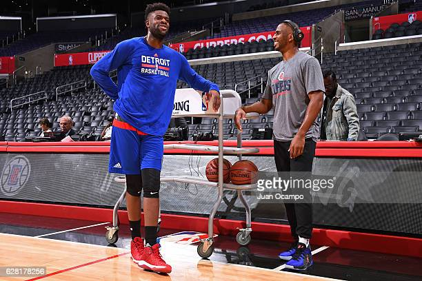 Chris Paul of the LA Clippers talks with Reggie Bullock of the Detroit Pistons before the game on November 7 2016 at the STAPLES Center in Los...
