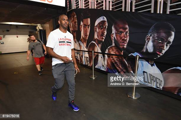 Chris Paul of the LA Clippers walks onto the court before the game against the Utah Jazz on October 30 2016 at STAPLES Center in Los Angeles...