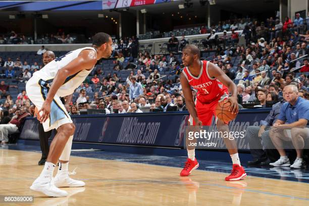Chris Paul of the Houston Rockets handles the ball during a preseason game against the Memphis Grizzlies on October 11 2017 at FedExForum in Memphis...