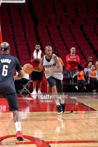 Chris Paul of the Houston Rockets handles the ball during the team's annual Fan Fest event on October 7 2017 at the Toyota Center in Houston Texas...