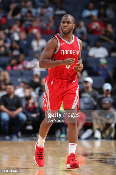 Chris Paul of the Houston Rockets looks on during a preseason game against the Memphis Grizzlies on October 11 2017 at FedExForum in Memphis...