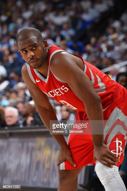 Chris Paul of the Houston Rockets looks on during the game against the Golden State Warriors on October 17 2017 at ORACLE Arena in Oakland California...