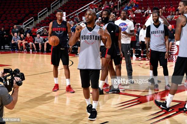 Chris Paul of the Houston Rockets participates in the team's annual Fan Fest event on October 7 2017 at the Toyota Center in Houston Texas NOTE TO...