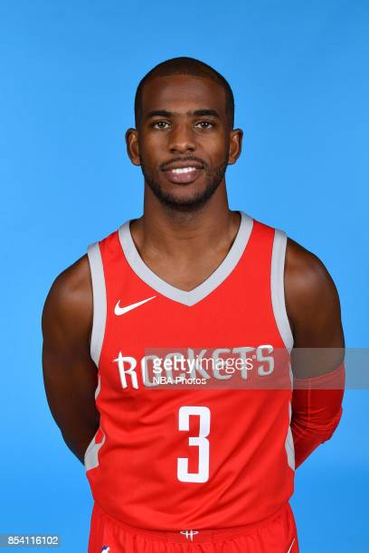 Chris Paul of the Houston Rockets poses for a head shot during Media Day on September 25 2017 at the Toyota Center in Houston Texas NOTE TO USER User...