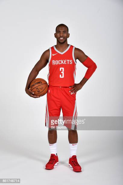 Chris Paul of the Houston Rockets poses for a portrait during the 201718 Houston Rockets Media Day on September 22 2017 at the Toyota Center in...