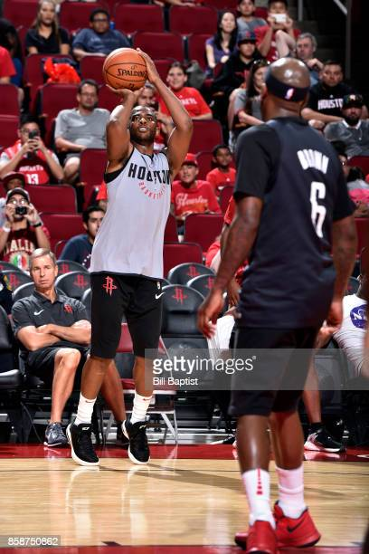Chris Paul of the Houston Rockets shoots the ball during the team's annual Fan Fest event on October 7 2017 at the Toyota Center in Houston Texas...