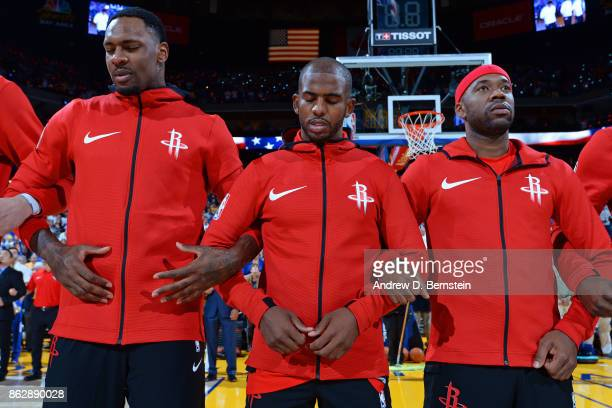 Chris Paul of the Houston Rockets stands on the court for the National Anthem before the game against the Golden State Warriors on October 17 2017 at...
