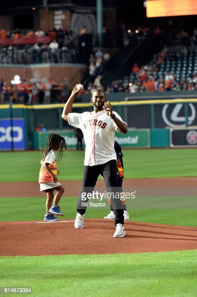 Chris Paul of the Houston Rockets throws out the ceremonial first pitch at Minute Maid Park on July 14 2017 in Houston Texas NOTE TO USER User...