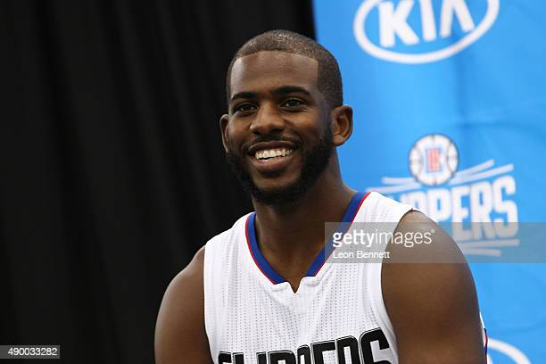 Chris Paul of the Los Angeles Clippers addresses the media at the Los Angeles Clippers Media Day on September 25 2015 in Playa Vista California