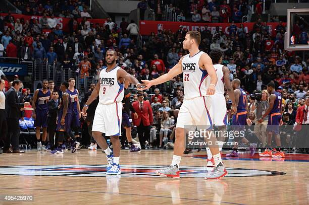 Chris Paul of the Los Angeles Clippers and Blake Griffin of the Los Angeles Clippers celebrate against the Phoenix Suns on November 2 2015 at STAPLES...