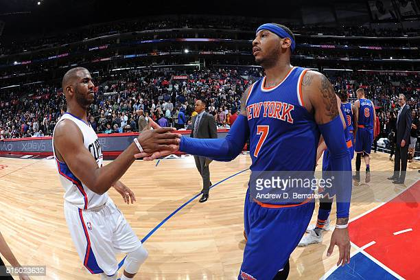 Chris Paul of the Los Angeles Clippers and Carmelo Anthony of the New York Knicks shake hands after the game on March 11 2016 at STAPLES Center in...