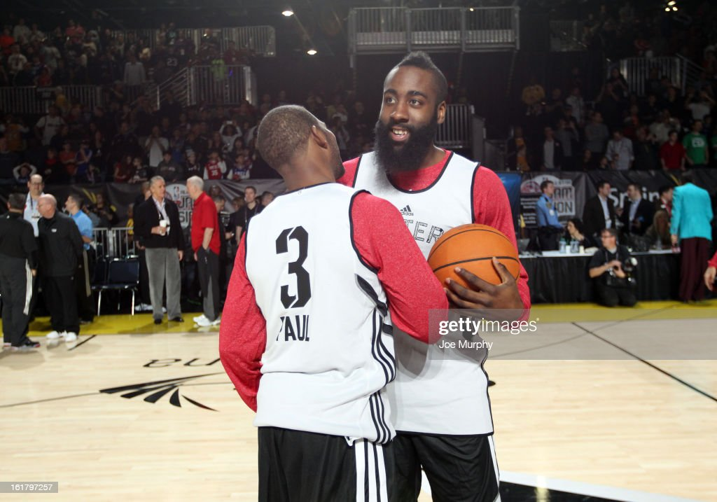 Chris Paul #3 of the Los Angeles Clippers and James Harden #13 of the Houston Rockets participate during the NBA All-Star Practice in Sprint Arena during the 2013 NBA All-Star Weekend on February 16, 2013 at the George R. Brown Convention Center in Houston, Texas.