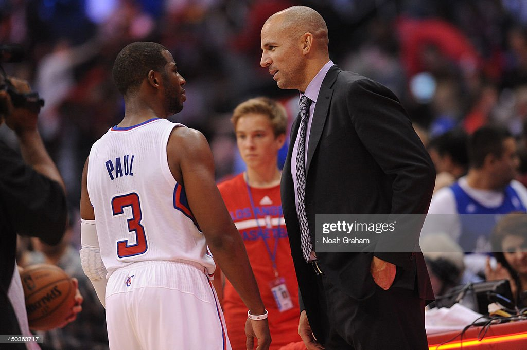 <a gi-track='captionPersonalityLinkClicked' href=/galleries/search?phrase=Chris+Paul&family=editorial&specificpeople=212762 ng-click='$event.stopPropagation()'>Chris Paul</a> #3 of the Los Angeles Clippers and <a gi-track='captionPersonalityLinkClicked' href=/galleries/search?phrase=Jason+Kidd&family=editorial&specificpeople=201560 ng-click='$event.stopPropagation()'>Jason Kidd</a>, Head Coach of the Brooklyn Nets converse after a game on November 16, 2013 at STAPLES Center in Los Angeles, California.