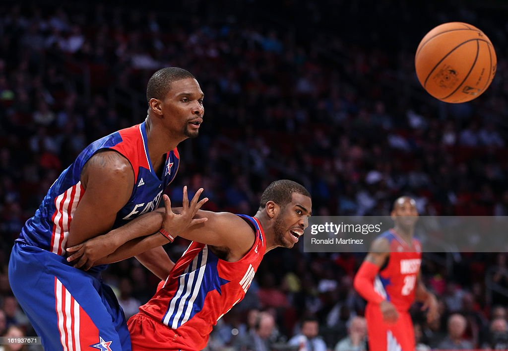<a gi-track='captionPersonalityLinkClicked' href=/galleries/search?phrase=Chris+Paul&family=editorial&specificpeople=212762 ng-click='$event.stopPropagation()'>Chris Paul</a> #3 of the Los Angeles Clippers and the Western Conference boxes out <a gi-track='captionPersonalityLinkClicked' href=/galleries/search?phrase=Chris+Bosh&family=editorial&specificpeople=201574 ng-click='$event.stopPropagation()'>Chris Bosh</a> #1 of the Miami Heat and the Eastern Conference during the 2013 NBA All-Star game at the Toyota Center on February 17, 2013 in Houston, Texas.