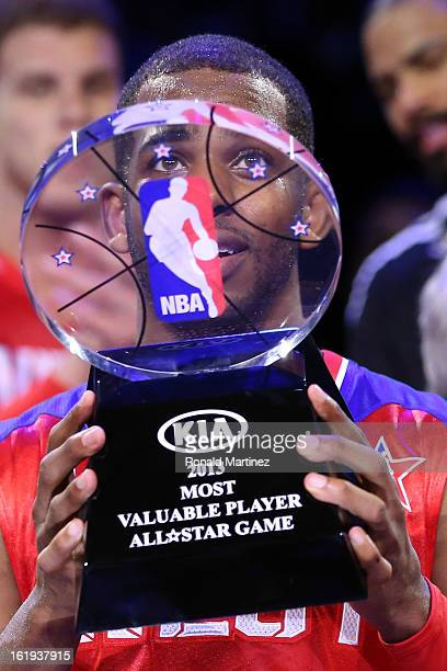 Chris Paul of the Los Angeles Clippers and the Western Conference celebrates after winning MVP in the 2013 NBA AllStar game at the Toyota Center on...