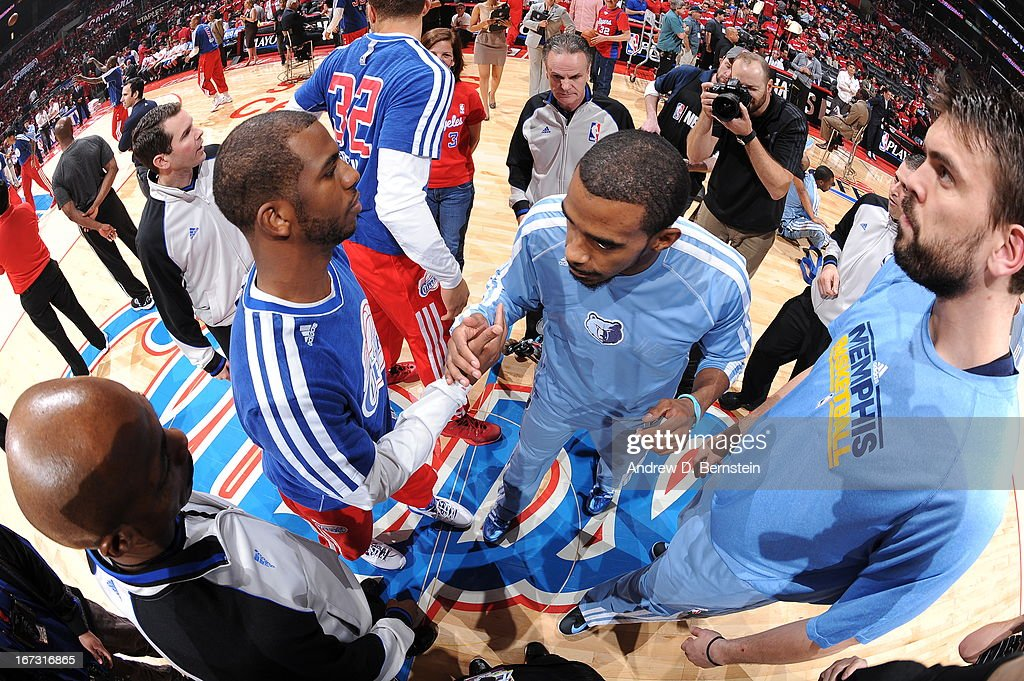 Chris Paul #3 of the Los Angeles Clippers and Tony Allen #9 of the Memphis Grizzlies during the game at Staples Center in Game Two of the Western Conference Quarterfinals during the 2013 NBA Playoffs on April 22, 2013 in Los Angeles, California.