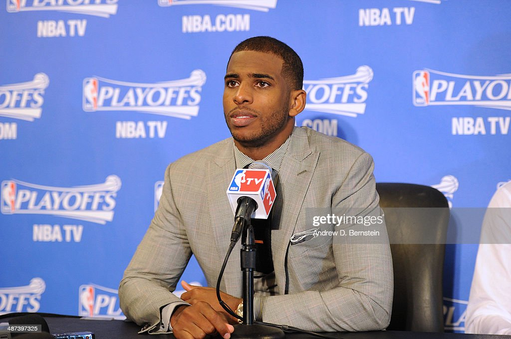 <a gi-track='captionPersonalityLinkClicked' href=/galleries/search?phrase=Chris+Paul&family=editorial&specificpeople=212762 ng-click='$event.stopPropagation()'>Chris Paul</a> #3 of the Los Angeles Clippers answers questions from the media after a game against the Golden State Warriors in Game Five of the Western Conference Quarterfinals at Staples Center on April 29, 2014 in Los Angeles, California.