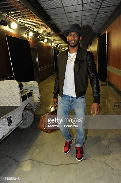 Chris Paul of the Los Angeles Clippers arrives at the arena before a game against the San Antonio Spurs in Game Seven of the Western Conference...