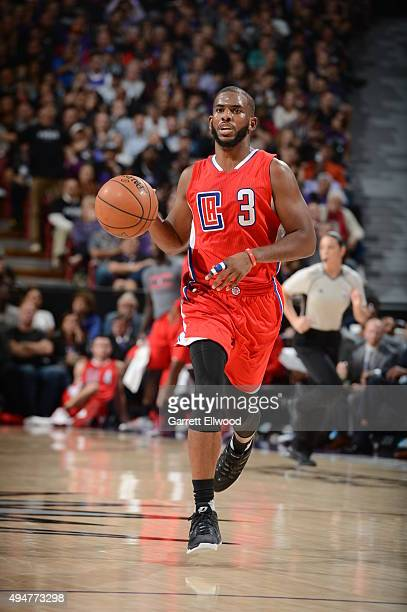 Chris Paul of the Los Angeles Clippers brings the ball up court against the Sacramento Kings on October 28 2015 at Sleep Train Arena in Sacramento...