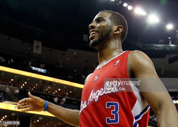 Chris Paul of the Los Angeles Clippers celebrates after their 8272 win over the Memphis Grizzlies in Game Seven of the Western Conference...
