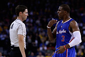 Chris Paul of the Los Angeles Clippers complains to official Ben Taylor after he was called for a foul during their game against the Golden State...