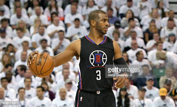 Chris Paul of the Los Angeles Clippers controls the ball in the second half against the Utah Jazz in Game Six of the Western Conference Quarterfinals...