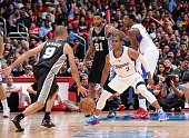 Chris Paul of the Los Angeles Clippers defends the basket against Tony Parker of the San Antonio Spurs during the game on November 10 2014 at STAPLES...