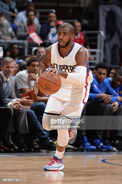 Chris Paul of the Los Angeles Clippers dribbles the ball against the Golden State Warriors on November 19 2015 at STAPLES Center in Los Angeles...