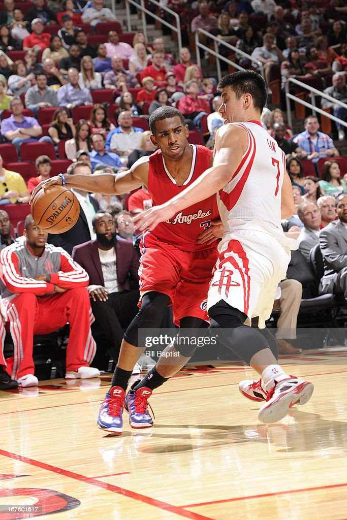 <a gi-track='captionPersonalityLinkClicked' href=/galleries/search?phrase=Chris+Paul&family=editorial&specificpeople=212762 ng-click='$event.stopPropagation()'>Chris Paul</a> #3 of the Los Angeles Clippers drives against <a gi-track='captionPersonalityLinkClicked' href=/galleries/search?phrase=Jeremy+Lin&family=editorial&specificpeople=6669516 ng-click='$event.stopPropagation()'>Jeremy Lin</a> #7 of the Houston Rockets on March 30, 2013 at the Toyota Center in Houston, Texas.