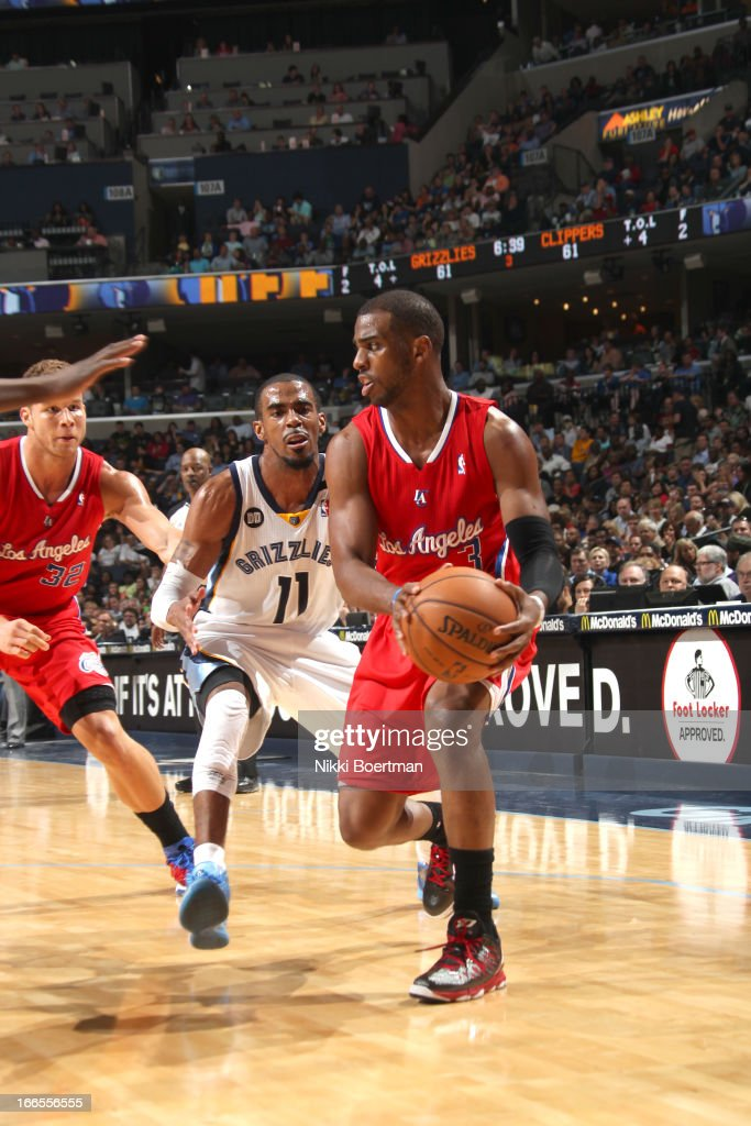 <a gi-track='captionPersonalityLinkClicked' href=/galleries/search?phrase=Chris+Paul&family=editorial&specificpeople=212762 ng-click='$event.stopPropagation()'>Chris Paul</a> #3 of the Los Angeles Clippers drives against Mike Conley #11 of the Memphis Grizzlies during the game between the Los Angeles Clippers and the Memphis Grizzlies on April 13, 2013 at FedExForum in Memphis, Tennessee.