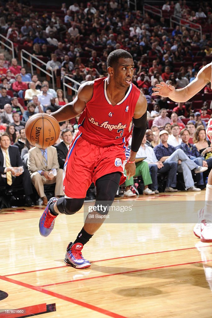 <a gi-track='captionPersonalityLinkClicked' href=/galleries/search?phrase=Chris+Paul&family=editorial&specificpeople=212762 ng-click='$event.stopPropagation()'>Chris Paul</a> #3 of the Los Angeles Clippers drives against the Houston Rockets on March 30, 2013 at the Toyota Center in Houston, Texas.