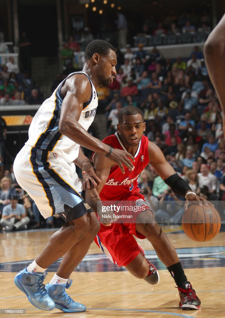 <a gi-track='captionPersonalityLinkClicked' href=/galleries/search?phrase=Chris+Paul&family=editorial&specificpeople=212762 ng-click='$event.stopPropagation()'>Chris Paul</a> #3 of the Los Angeles Clippers drives against <a gi-track='captionPersonalityLinkClicked' href=/galleries/search?phrase=Tony+Allen+-+Basketball+Player&family=editorial&specificpeople=201665 ng-click='$event.stopPropagation()'>Tony Allen</a> #9 of the Memphis Grizzlies on April 13, 2013 at FedExForum in Memphis, Tennessee.