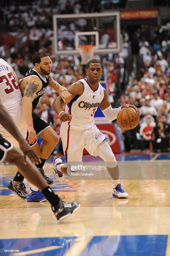 <a gi-track='captionPersonalityLinkClicked' href=/galleries/search?phrase=Chris+Paul&family=editorial&specificpeople=212762 ng-click='$event.stopPropagation()'>Chris Paul</a> #3 of the Los Angeles Clippers drives during the game between the Los Angeles Clippers and the Brooklyn Nets at Staples Center on March 23, 2013 in Los Angeles, California.