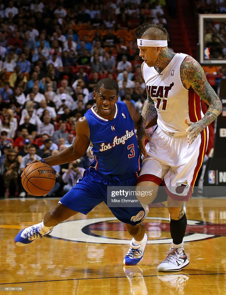 <a gi-track='captionPersonalityLinkClicked' href=/galleries/search?phrase=Chris+Paul&family=editorial&specificpeople=212762 ng-click='$event.stopPropagation()'>Chris Paul</a> #3 of the Los Angeles Clippers drives past Chris Andersen #11 of the Miami Heat during a game at AmericanAirlines Arena on November 7, 2013 in Miami, Florida.